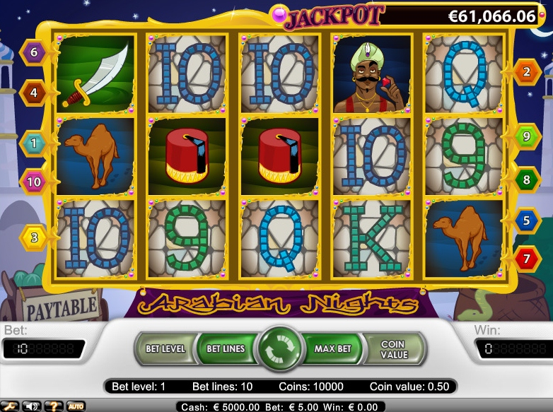 Arabian Nights:       Adventure Abounds with a Progressive Jackpot